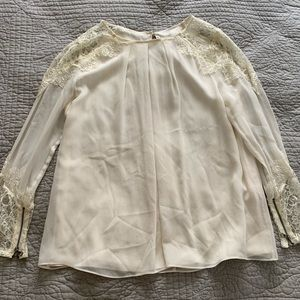 Alice and Olivia white LS blouse size small